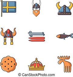 Sweden history icons set, cartoon style