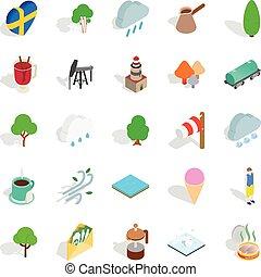 Sweden icons set, isometric style - Sweden icons set....