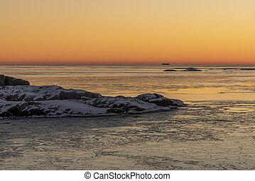 Sweden in winter sunset