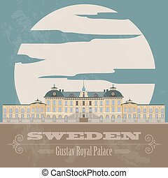 Sweden landmarks. Retro styled image. Vector illustration