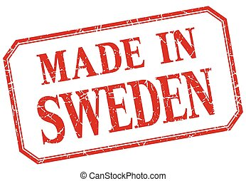 Sweden - made in red vintage isolated label