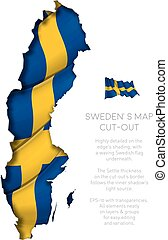 Sweden Map Cut-Out with Waving Flag