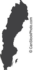 Sweden map in black on a white background. Vector illustration
