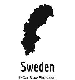 Sweden map in black simple