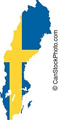 Sweden map with flag vector