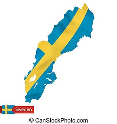 Sweden map with waving flag of Sweden.