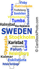 sweden map words cloud with larger cities