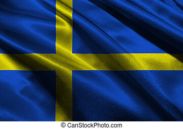 Sweden national flag 3D illustration symbol.