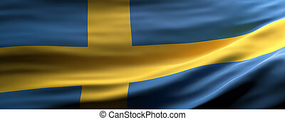 Sweden national flag waving texture background. 3d illustration