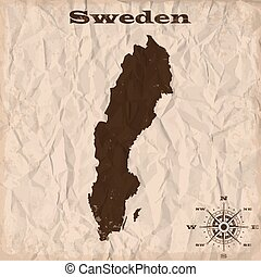 Sweden old map with grunge and crumpled paper. Vector illustration