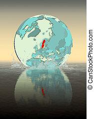Sweden on globe splashing in water
