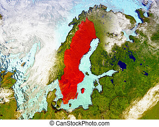 Sweden on illustrated globe