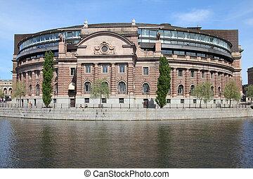 Stockholm, Sweden. Riksdag (parliament) building at Helgeandsholmen island.