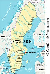 Sweden Political Map with capital Stockholm, national...
