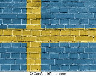 Sweden Politics Concept: Swedish Flag Wall
