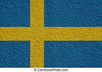 Sweden Politics Or Business Concept: Swedish Flag Wall With Plaster, Texture