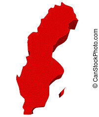 Sweden Red 3d Europe Map Isolated