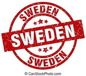 Sweden red round grunge stamp