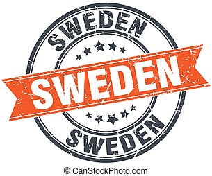 Sweden red round grunge vintage ribbon stamp