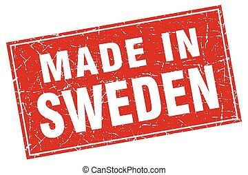 Sweden red square grunge made in stamp
