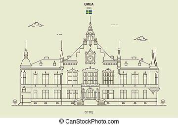 sweden., repère, umea, hôtel ville, icône