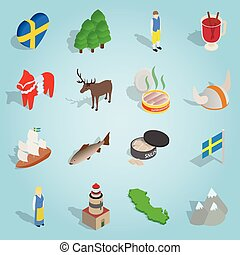 Sweden set icons, isometric 3d style