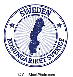 Sweden stamp - Grunge rubber stamp with the name and map of...