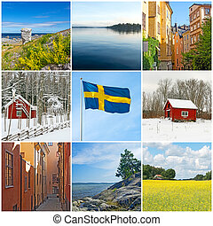 Sweden. Swedish flag, city, countryside and nature. Collection of 9 images.