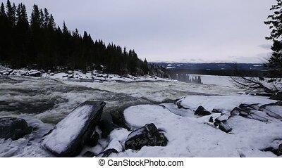 Sweden Tännforsen waterfall, winter