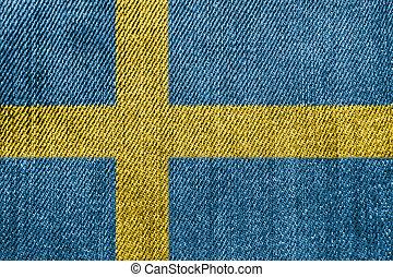 Sweden Textile Industry Or Politics Concept: Swedish Flag Denim Jeans