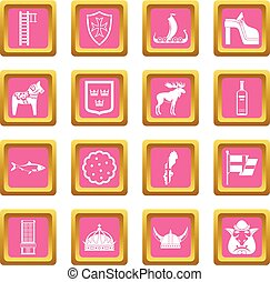 Sweden travel icons pink