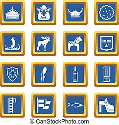 Sweden travel icons set blue