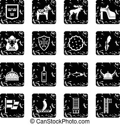 Sweden travel icons set