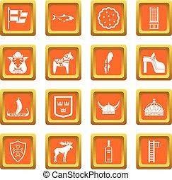 Sweden travel icons set orange