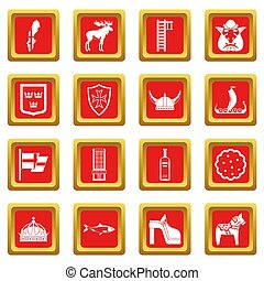 Sweden travel icons set red