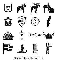 Sweden travel icons set, simple style