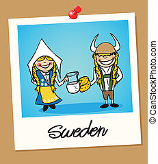 Sweden travel polaroid people - Swedish man and woman ...