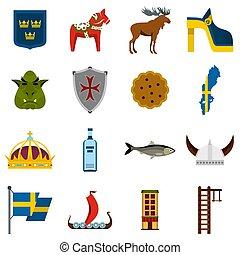 Sweden travel set flat icons