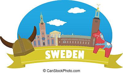 sweden., turismo, y, viaje
