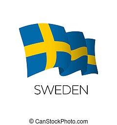 Sweden vector flag. Waving flag of Sweden. Stockholm