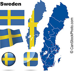 Sweden vector set. Detailed country shape with region...