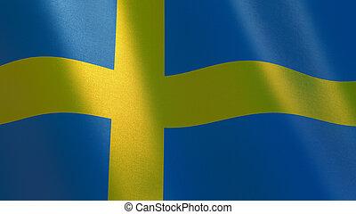 Sweden waving flag. 3d illustration