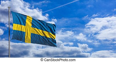 Sweden waving flag on blue sky. 3d illustration