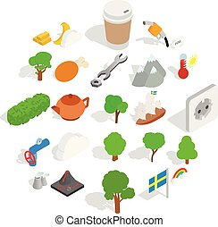 Sweden weather icons set, isometric style - Sweden weather...