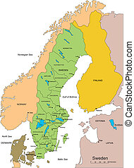 Sweden, editable vector map broken down by administrative districts includes surrounding countries, in color with cities, district names and capitals, all objects editable. Great for building sales and marketing territory maps, illustrations, web graphics and graphic design. Includes sections of ...