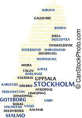 SWEDEN Word Cloud Map - SWEDEN map made from cities with the...