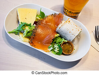 Swedish appetize - salted salmon fillet - Swedish appetizer...