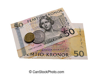 Swedish banknotes and coins.