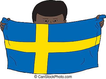 Swedish Boy Holding Flag