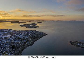 Swedish coast at sunset drone photo